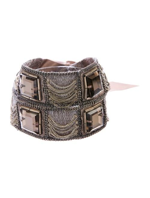 Oscar de la Renta Satin Embellished Belt Brown
