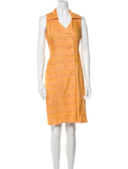Oscar de la Renta Striped Knee-Length Dress Orange - image 1