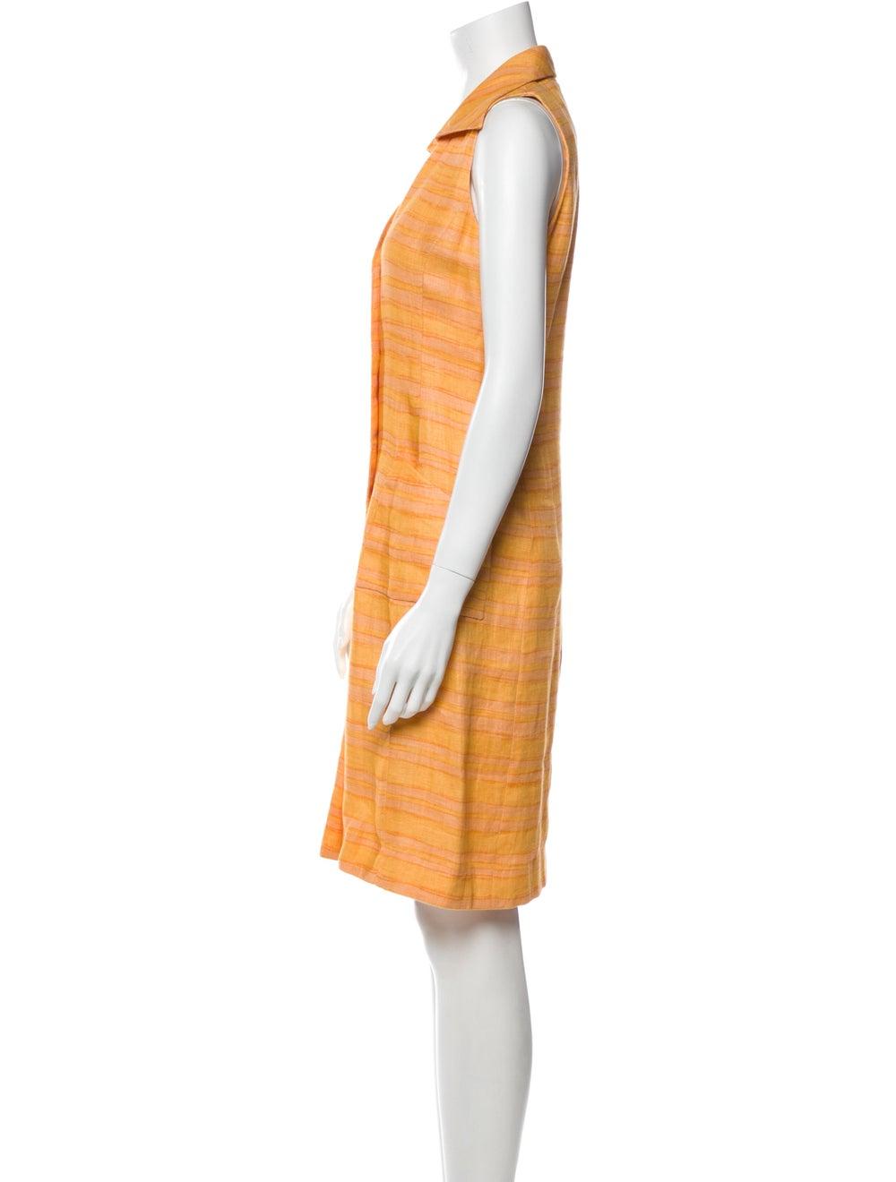 Oscar de la Renta Striped Knee-Length Dress Orange - image 2