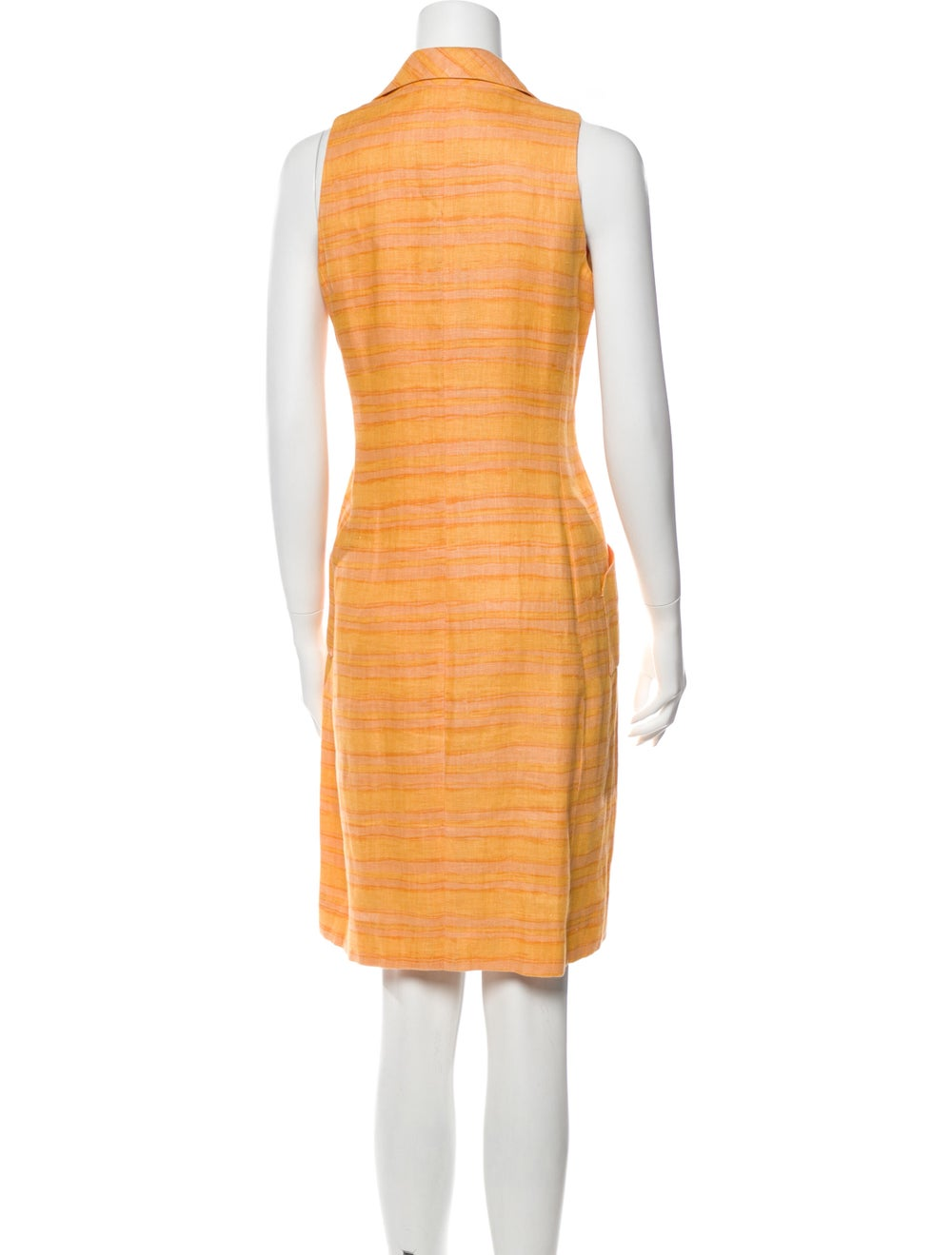 Oscar de la Renta Striped Knee-Length Dress Orange - image 3