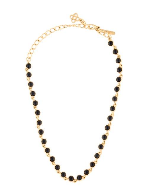 Oscar de la Renta Onyx Cabochon Necklace Gold