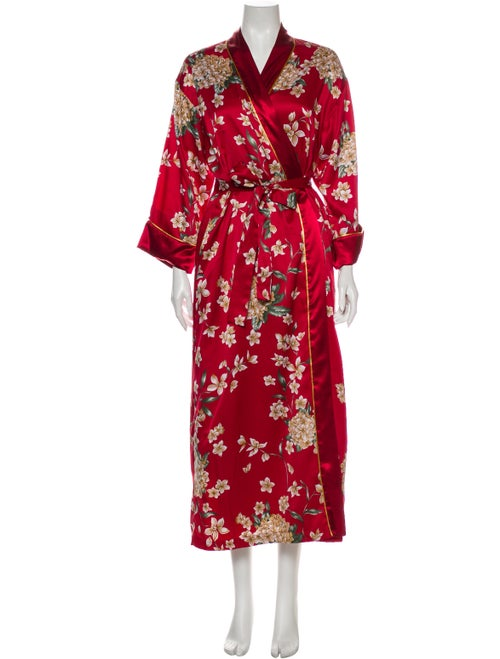 Oscar de la Renta Floral Print Robe Red