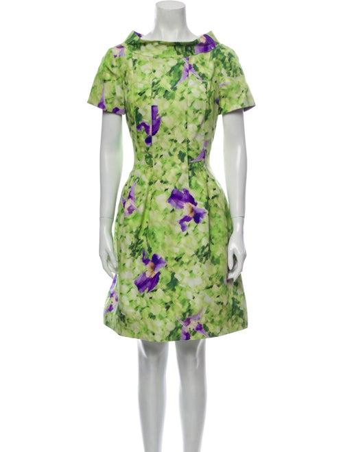 Oscar de la Renta Silk Mini Dress Green - image 1