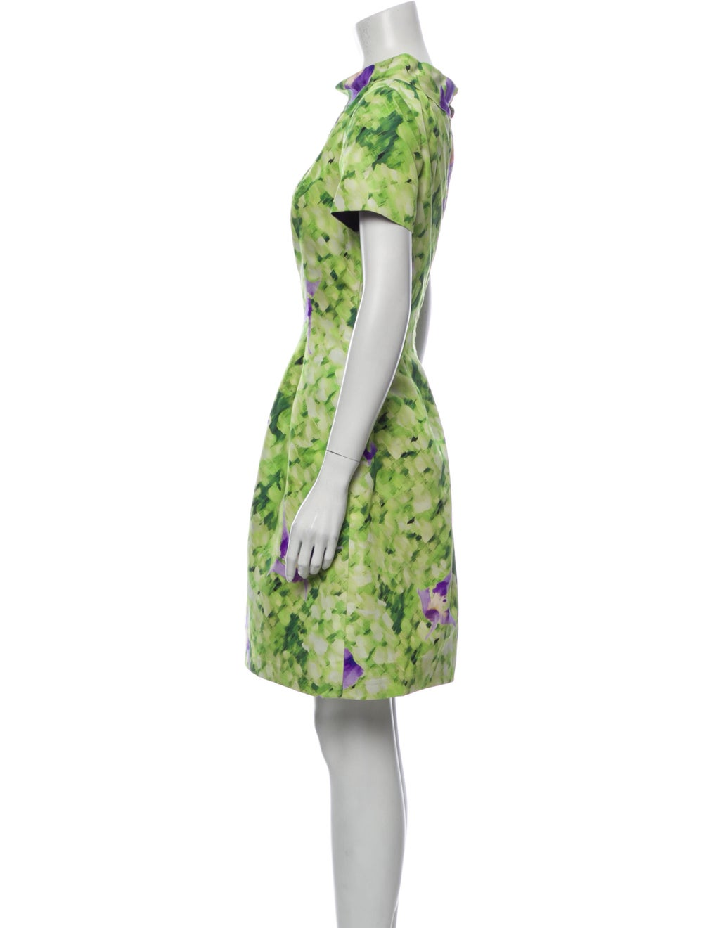 Oscar de la Renta Silk Mini Dress Green - image 2