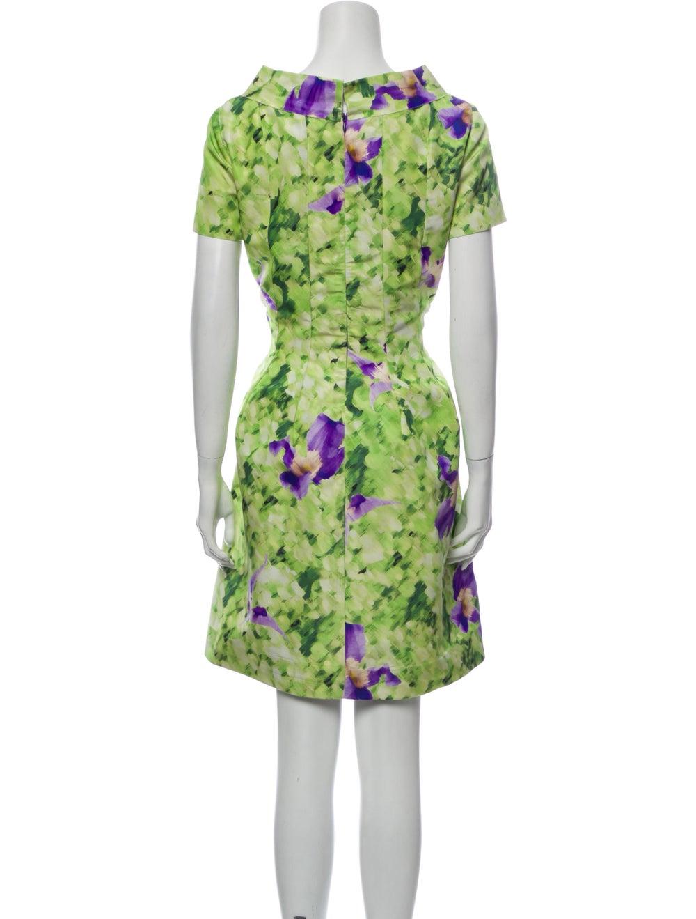 Oscar de la Renta Silk Mini Dress Green - image 3