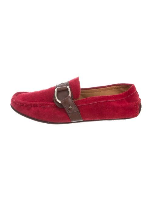 Oscar de la Renta Suede Loafers Red