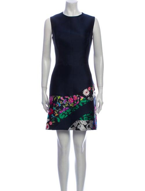 Oscar de la Renta Printed Mini Dress Blue