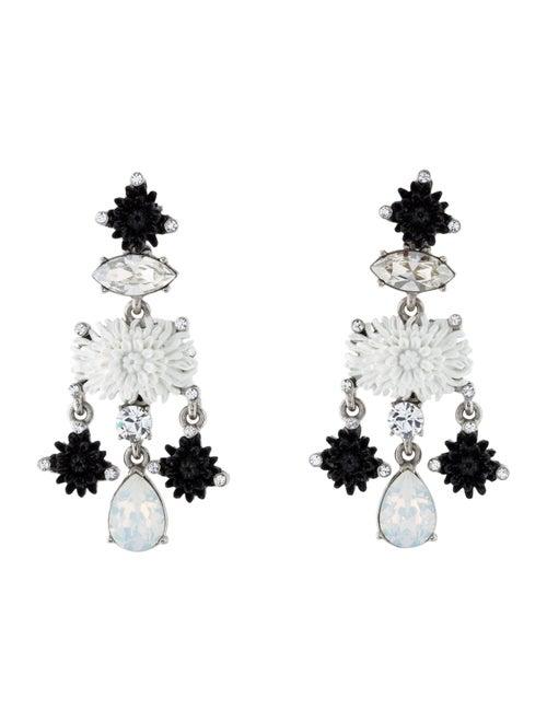 Oscar de la Renta Dahlia Chandelier Earrings Silve