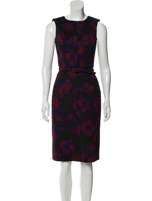 Oscar de la Renta Belted Midi Dress Black - image 1