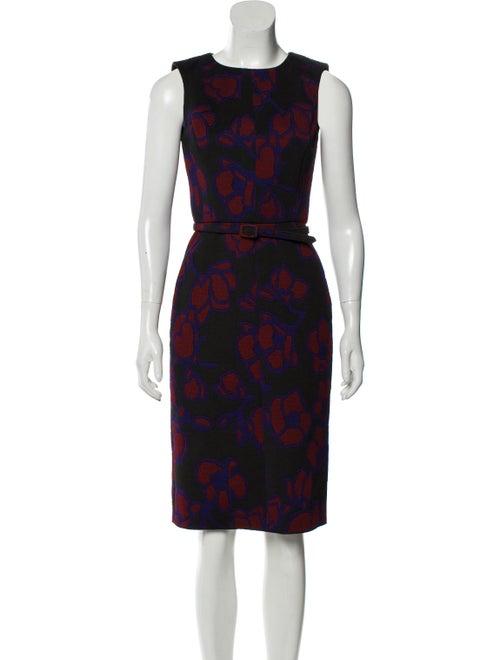 Oscar de la Renta Belted Midi Dress Black