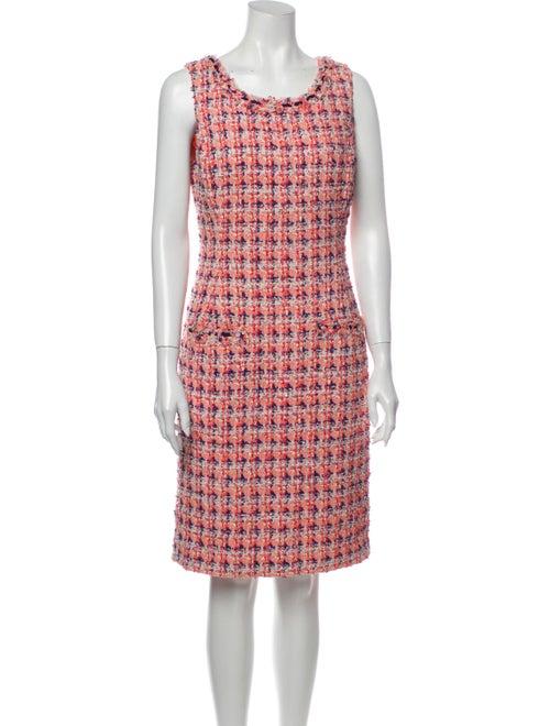 Oscar de la Renta Printed Knee-Length Dress Pink - image 1