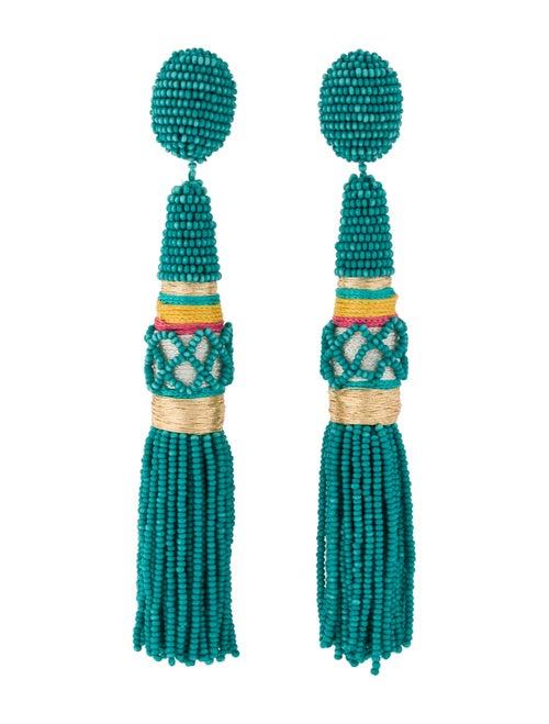 Oscar de la Renta Beaded Tassel Clip-On Earrings G