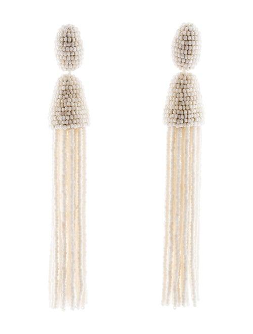 Oscar de la Renta Beaded Long Tassel Clip-On Earri