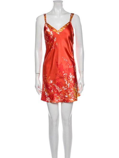 Oscar de la Renta Floral Print Nightgown Orange