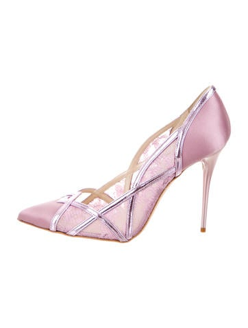 Satin & Mesh Pointed-Toe Pumps