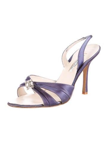 Embellished Satin Slingback Sandals