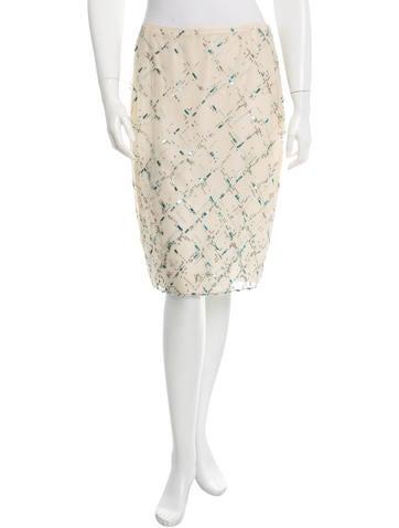 Oscar de la Renta Beaded & Sequined Knee-Length Skirt
