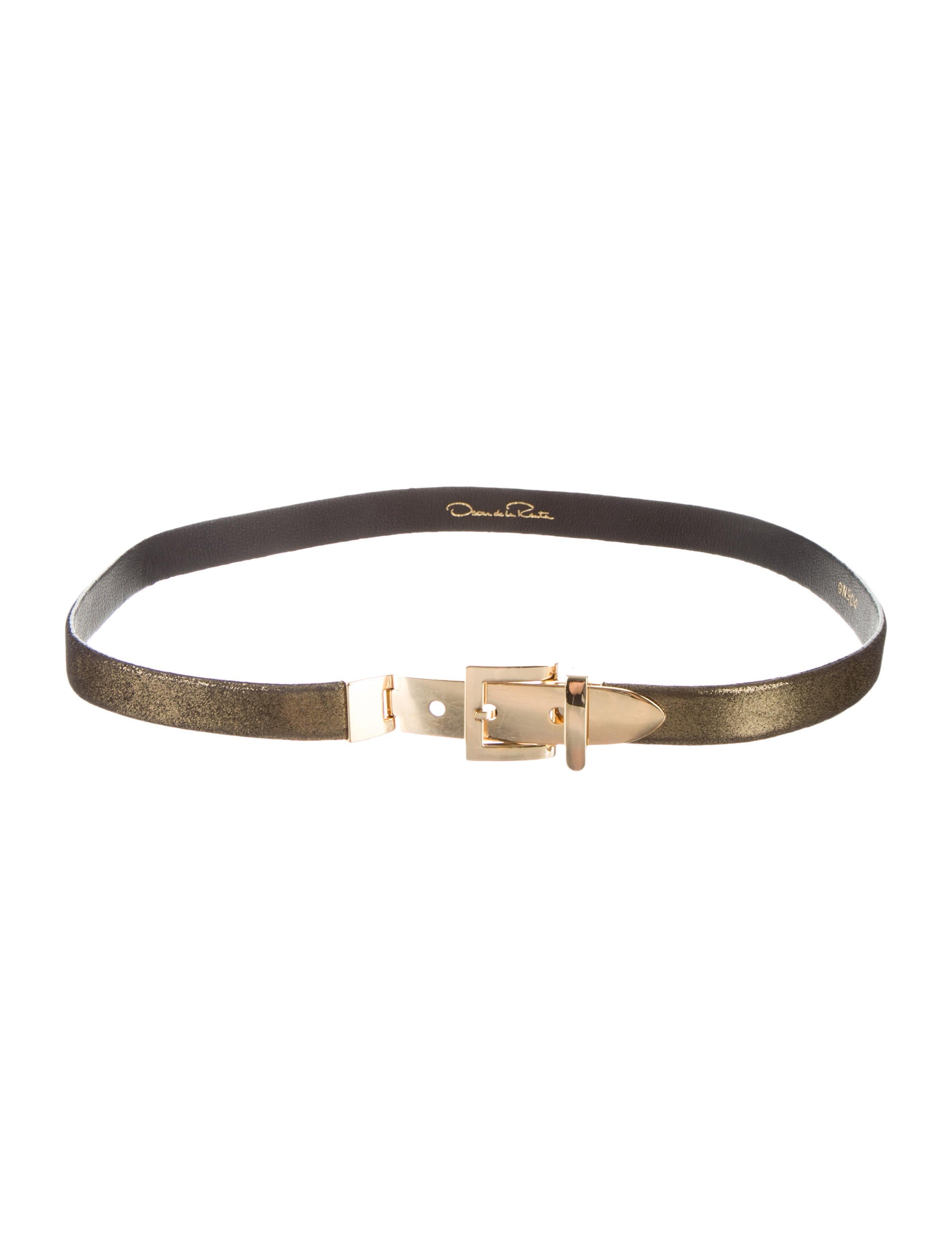 oscar de la renta metallic leather belt accessories
