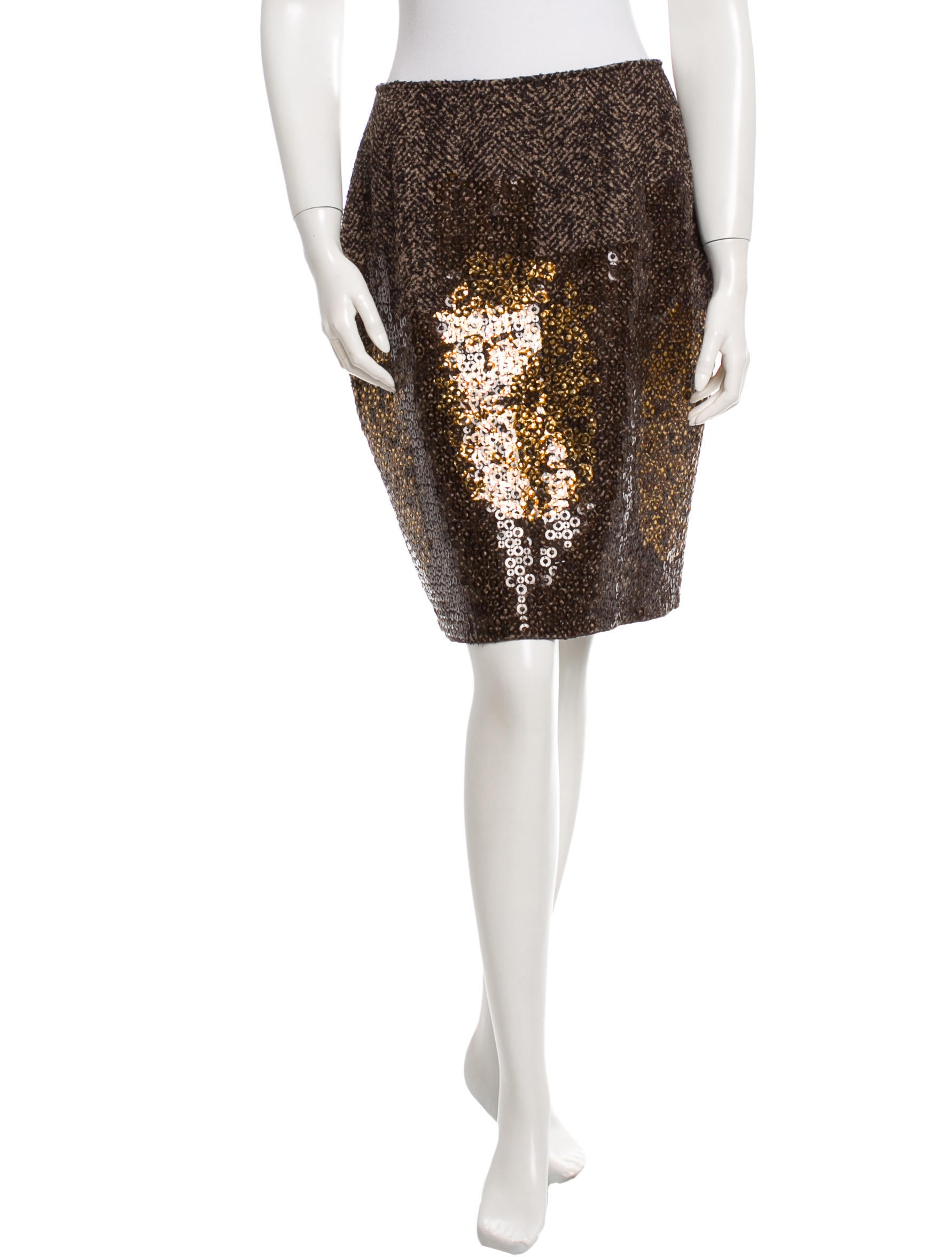 oscar de la renta fall 2008 sequined knee length skirt