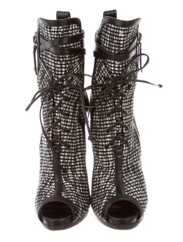 Tweed Lace-Up Ankle Boots