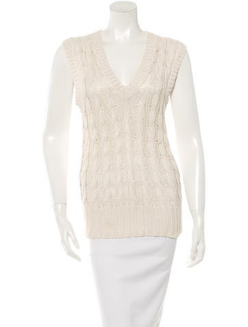 Oscar de la Renta Silk Cable Knit Top None