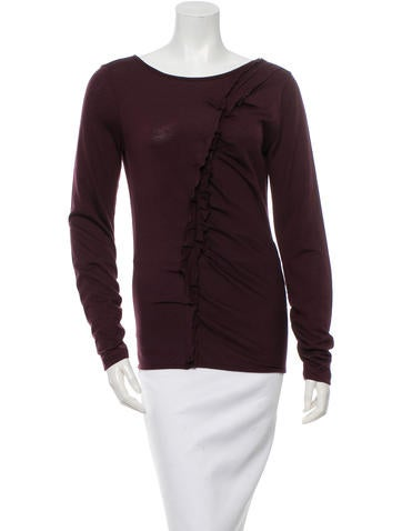 Oscar de la Renta Ruffled Wool Top None