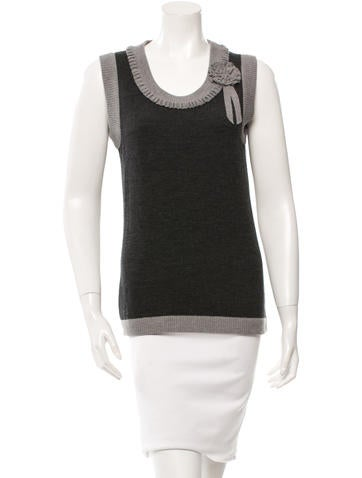 Oscar de la Renta Sleeveless Wool Top None