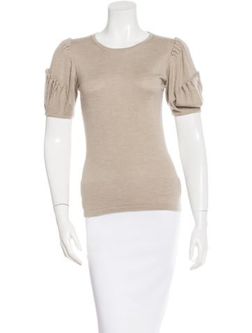 Oscar de la Renta Cashmere Short Sleeve Sweater None