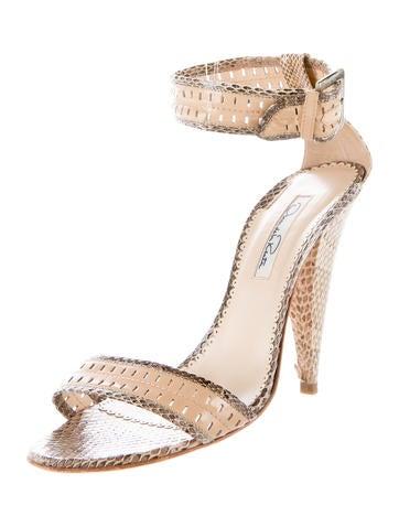 Snakeskin Ankle-Strap Sandals