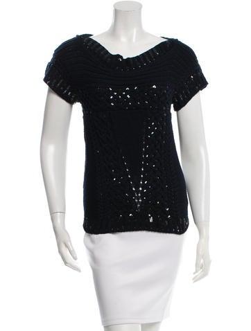 Oscar de la Renta Sequin-Accented Knit Top None