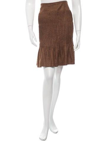 Oscar de la Renta Cashmere & Silk-Blend Pleated Skirt None