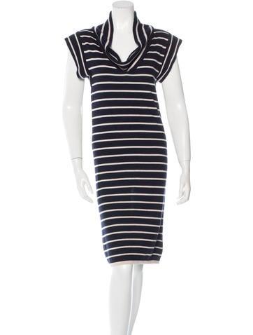 Oscar de la Renta Cashmere & Silk-Blend Striped Dress None