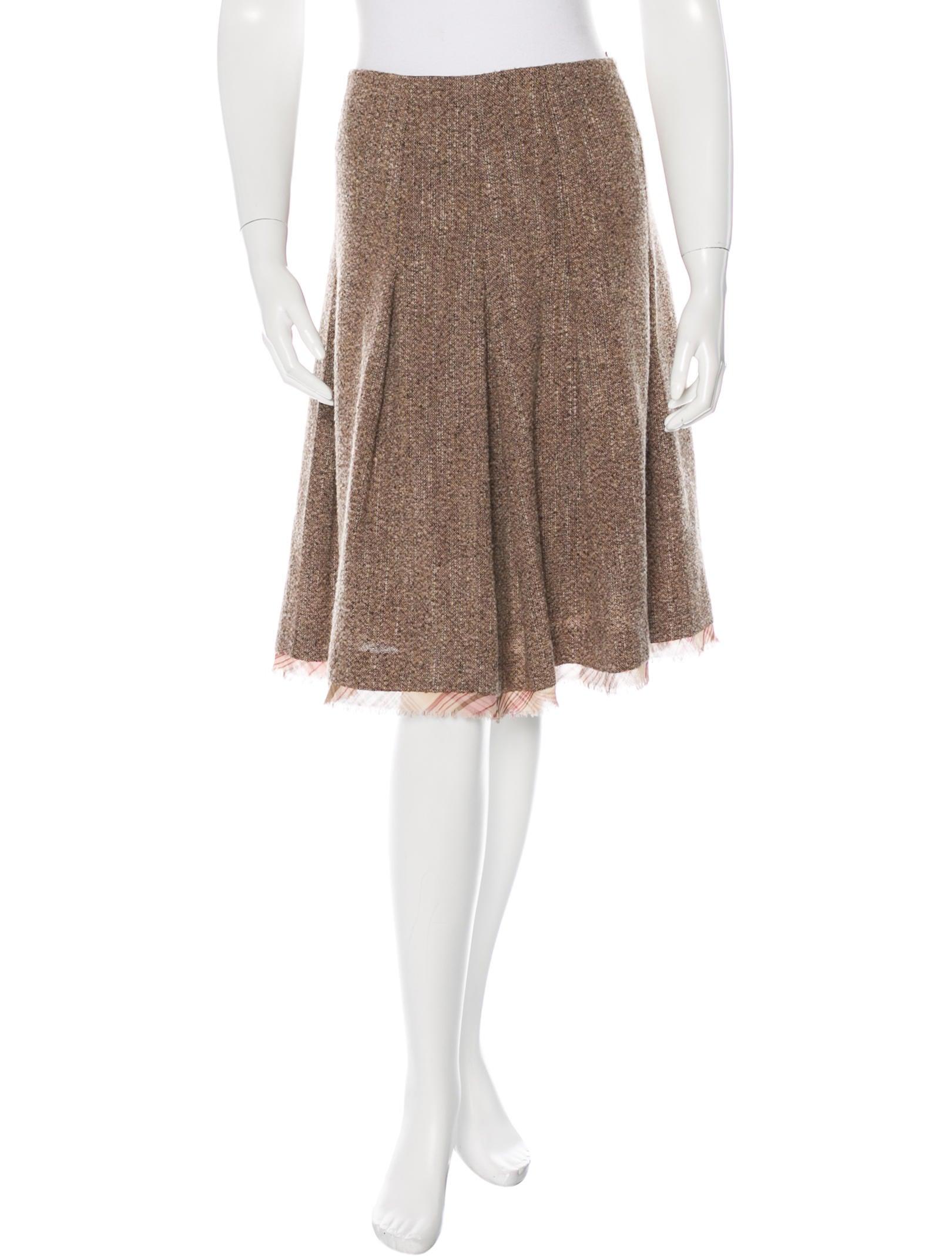 oscar de la renta wool pleated skirt clothing osc45674