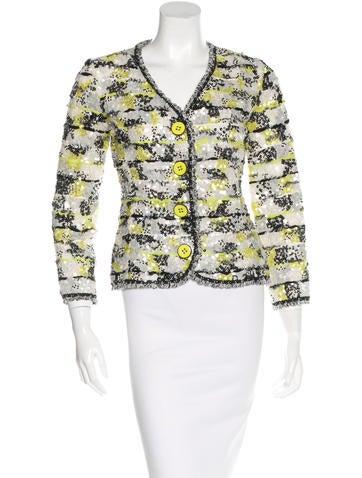Oscar de la Renta Embellished Silk Blazer