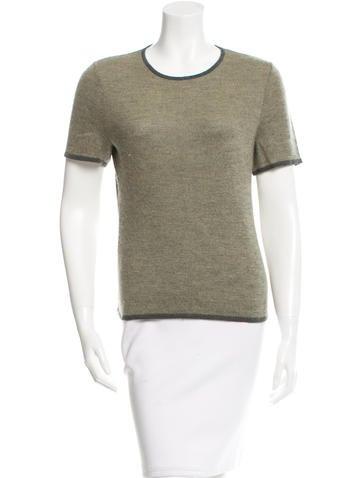Oscar de la Renta Cashmere & Silk-Blend Short Sleeve Top None