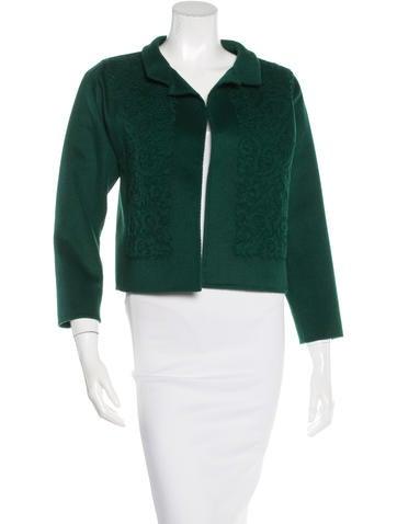 Oscar de la Renta Wool & Angora-Blend Appliqué Jacket