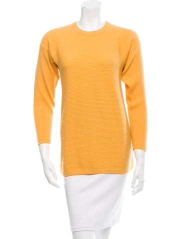 Oscar de la Renta Cashmere Rib Knit Sweater None