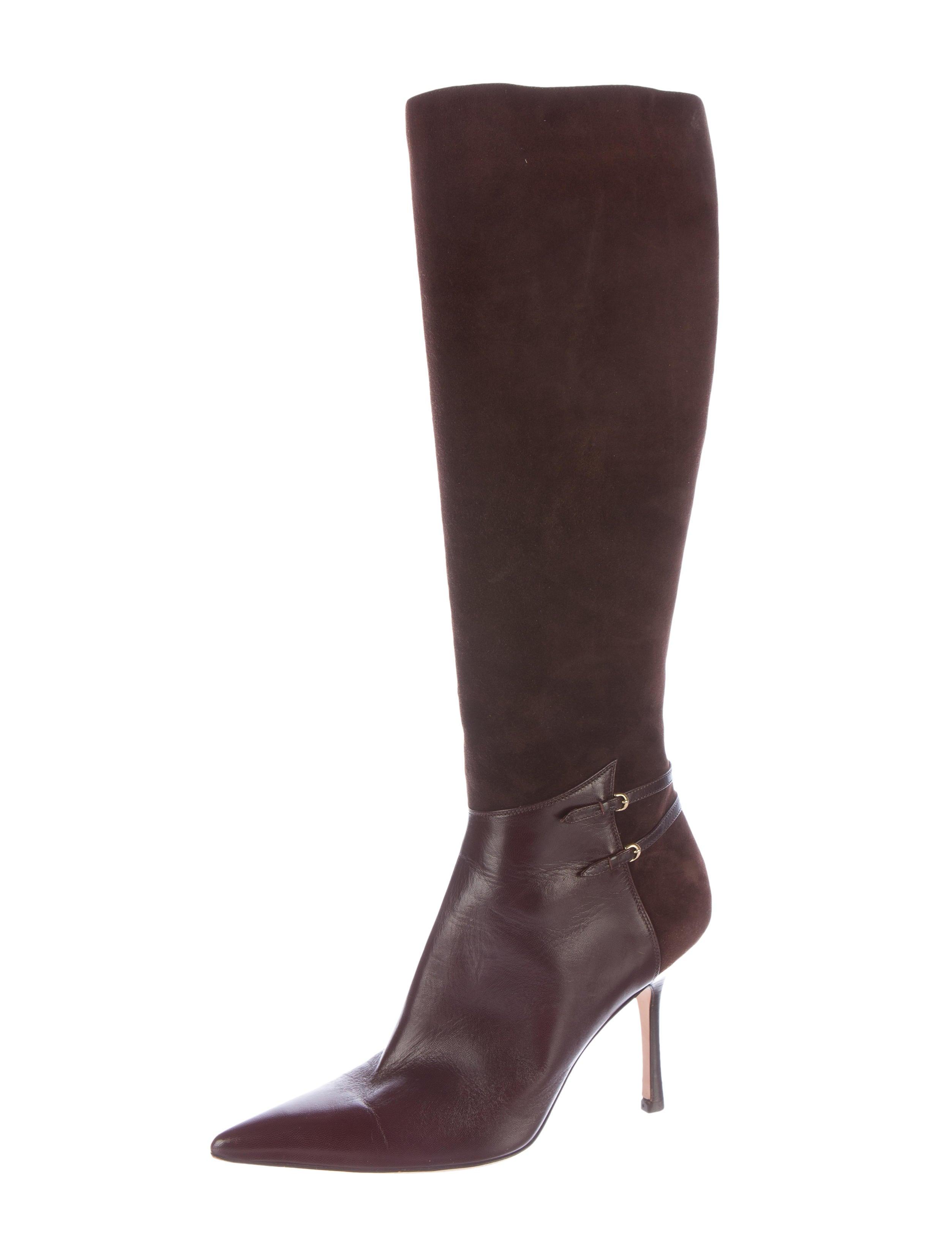 oscar de la renta suede leather knee high boots shoes