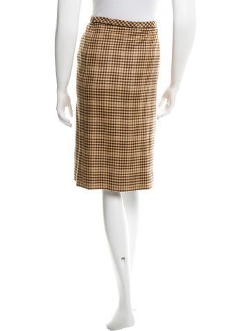 Cashmere Houndstooth Skirt