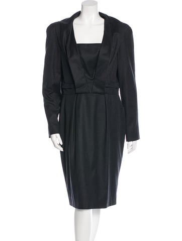 Oscar de la Renta Virgin Wool Sheath Dress