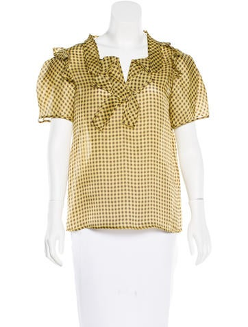 Oscar de la Renta Silk Gingham Top
