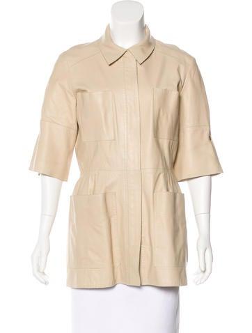 Oscar de la Renta Leather Short Sleeve Jacket