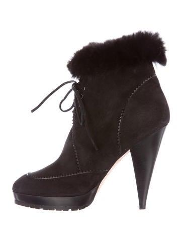 Oscar de la Renta Fur-Trimmed Ankle Boots