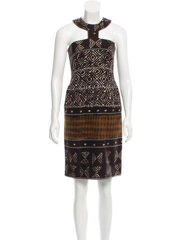 Oscar de la Renta Printed Halter Dress