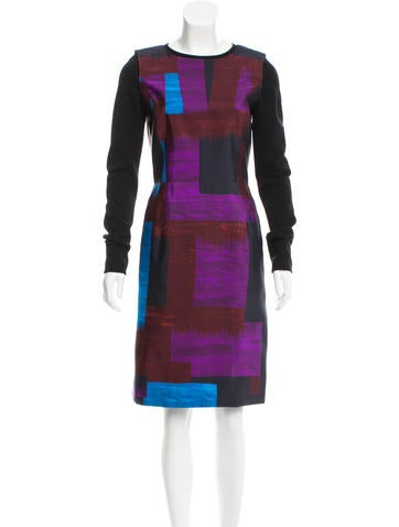 Oscar de la Renta Abstract Print Silk Dress