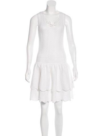 Oscar de la Renta Tiered Knit Dress None
