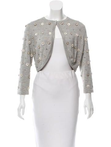 Oscar de la Renta Cashmere & Silk-Blend Embellished Sweater None