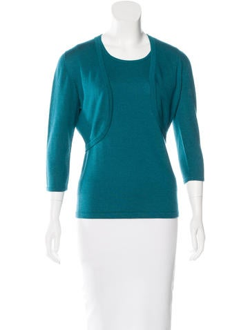 Oscar de la Renta Cashmere & Silk-Blend Cardigan Set None