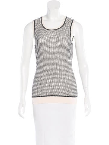 Oscar de la Renta Virgin Wool Metallic Top None