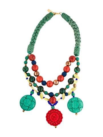 Oscar de la Renta Multistone & Carved Resin Three Strand Necklace